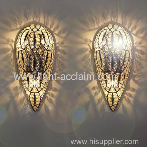 Modern wall light fixtures Metal laser cutting crystal wall lamp decoration wall lamp
