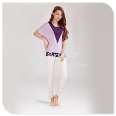 Apparel & Fashion Shirts & Blouses Fake V neck twinset blouse bamboo short sleeves T shirt