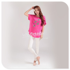 Apparel & Fashion Shirts & Blouses Ladies Crew neck loose styling T-shirt casual wear leaves printing
