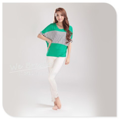 Apparel & Fashion Shirts & Blouses Bamboo Bat-wings T-shirt Mixed Stripes Block Front Five Colors