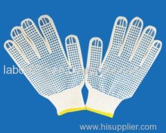 blue dot rubber glove