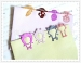 cartoon colourful grey wolf boomark paper clips push pins
