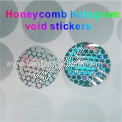 Custom security honeycomb patterns hologram void stickers custom logo and texts tamper proof honeycomb hologram labels