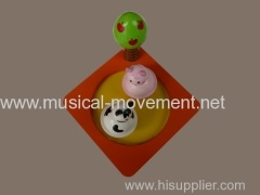 Baby Animals Dance Music Wood Boxes Key Wound Musical Movement