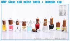 ガラスネイルポリッシュボトルネックサイズ13ミリメートル15ミリリットル竹キャップ8ミリリットル10ミリリットル15ミリリットル木製/竹ガラスネイルポリッシュボトル