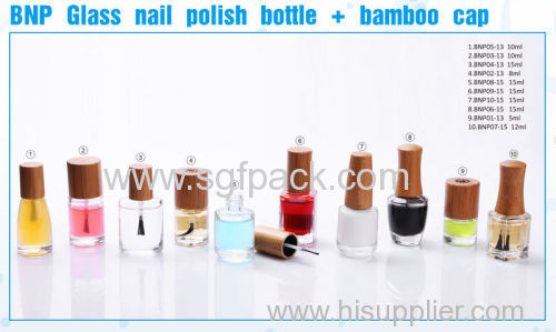 glass nail polish bottle neck size 13mm 15ml with bamboo cap 8ml 10ml 15ml wooden/bamboo glass nail polish bottle