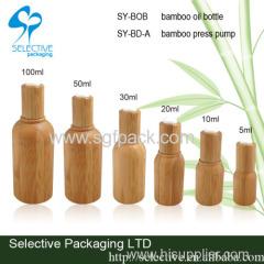 druk pomp fles olie bamboe pakket innerlijke glazen fles olie 10ml 15ml 20ml 30ml 50ml 100ml bamboe etherische olie fles