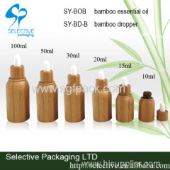 Bamboo glass essential oil bottle with dropper