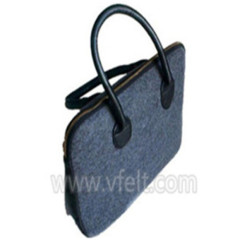 Super quality polyester felt tote bag with leather