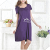 Apparel & Fashion Underwear & Nightwear Pajamas Lace trim square neck short sleeves bamboo sleep gown solid colors