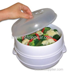 Microwave plastic steamer 3 layer plastic food steamer