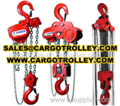 Manual chain hoist applications and pictures