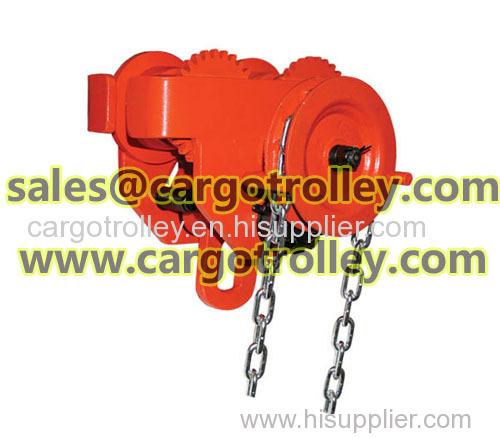 Geared traveling trolley application