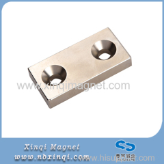 Block Neodymium magnet with two countersunk hole