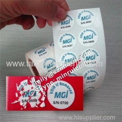 Custom Destructible Screw Round Warranty Security Labels With Numbers Security Laptop Screw Cover Warranty Sticker
