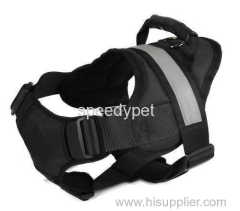 small size black color durable dog harness with reflective band