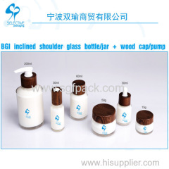 BGI Inclined shoulder glass bottle/jar +wood cap/pump