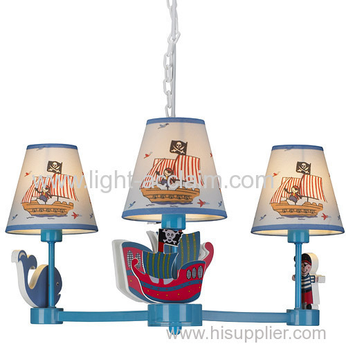 Cartoon pendant lamp sweet pirate ship children bedroom lamp boy's room