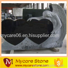 natural shanxi black granite angle double heart headstone