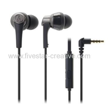 SonicPro ATH-CKR5iS Earbuds with Microphone for Smartphones Audio-Technica ATH-CKR5is Black