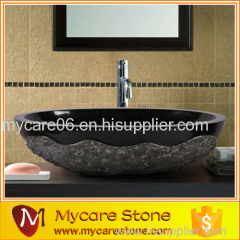 2015 hot sale classic black granite oval washing basin with top quality
