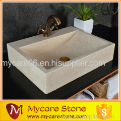 Wholesales natural beige marble cheap sink