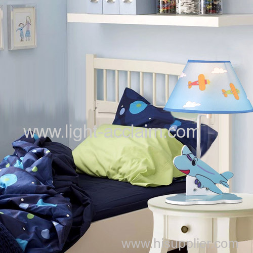 Blue plane desk lamp kids table lamps the eye of children Fabric shade table lamps
