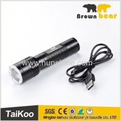 torch light rechargeable flashlight with USB wire