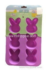 6pcs purple rabbit Easter silicone cake molds