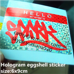 hologram desructible paper label and accept custom order