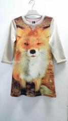 70%cotton 20%polyester 10%lurex girls' sublimated long T-shirt