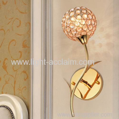 Imitation gold rose crystal lamp lighting bedroom aisle lights crystal gold wall lamp