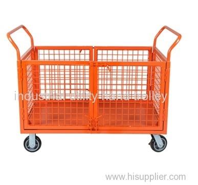 Grid platform hand trolley with double door