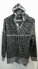 55%acrylic 45%polyester hooded women's knitted pullover