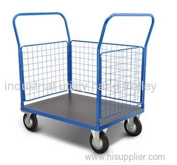 Three surface steel grid-baffle platform cart on wheels