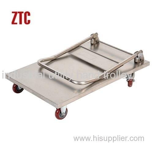 Folding stainless steel platform hand trolleys