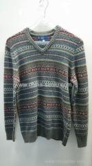 60%acrylic 40%polyester mens V neck jacquard pullover sweater