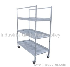 3-layers steel material sorting adjustable shelf cart