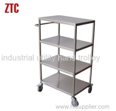 Logistics transport stainless steelfour layers shelf hand trucks
