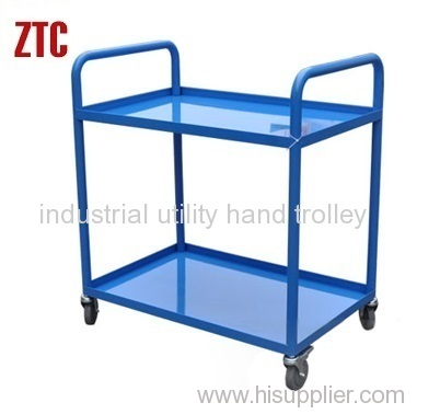 Material transport metal tray type warehouse trolley
