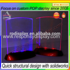 Acrylic table menu display holder with led light