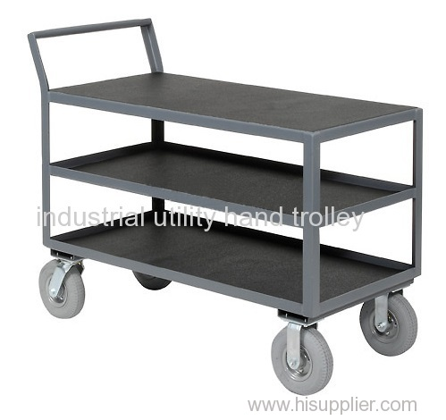 Equipment and material handling warehouse carts with three layers