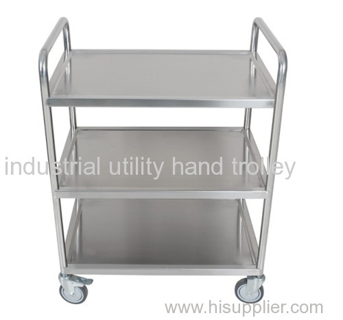 Three layer double handle warehouse cart material moving trolley on wheels