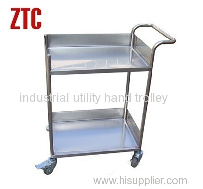Logistics transport stainless steel trolley with two tiers