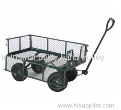 Garden trolley with four pneumatic wheels