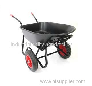 Garden heavy duty wheelbarrow with Plastic tub and Steel handle
