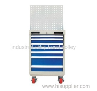 Seven drawers tool workshop cart trolley with hanging board