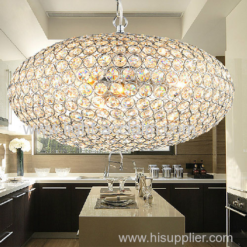 small circle iron crystal lamp bedroom chandelier Restaurant droplight