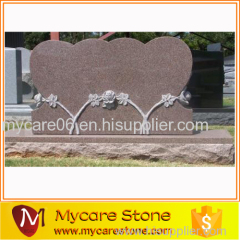 Double Heart with Sculpted Roses Tombstone