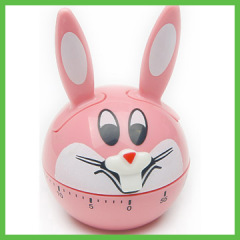 Cartoon Rabbit Design 60 mintues Plastic Mechanism Kitchen Timer